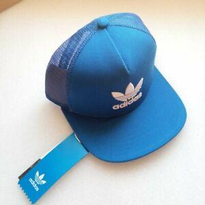Adidas Originals Blue Trefoil Trucker Mesh Cap -One Size Adjustable strap BNWT
