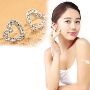 Lovely Women Rhinestone Heart Shape Silver Ear Stud Earrings Gift