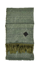 Moncler Green Reversible Wool Down Suede Fringe Scarf New $825