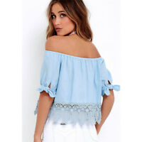 Lady Summer Lace Off-shoulder Casual Blouses Crop Tops Women's Girl T-Shirt