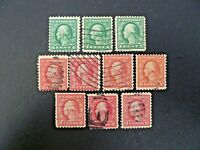 USA Lot of 10 Wash-Franklin 1916-22 Issue #462 & #463 Used - See Description
