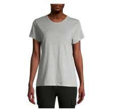 Time and Tru Women's Slub Crew Tee size 2XL Gray Short Sleeves Relaxed Fit New