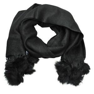 Damenschal leichter weicher Langschal schwarz Schal Damen mit Bommel