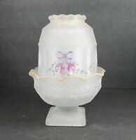 Westmoreland White Satin Hand Paint Glass Wakefield Fairy Light Lamp Two Pieces