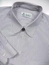 LUIGI BORRELLI MENS 17 XL 31 LUXURY DRESS SHIRT BLACK WHITE STRIPE MADE IN ITALY