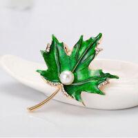 Charm Enamel Maple Leaf Brooch Simulated Pearl Badge Women Gift Fashion Jewelry