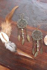 Gorgeous Handmade Bronze Antique Floral Leaf & Citrine Stone Chip Chain Earrings