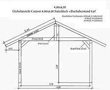 Kiefernschnittholz für ein Carport 4 x 6 m mit Satteldach