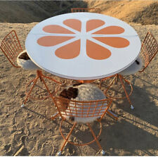 Flower Power Orange Slice 1970s Dining Table Four Cow Hide Chairs MCM