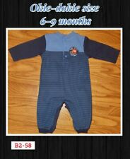6-9 Month Okie-dokie Boys Blue Striped Teddy Bear Jumpsuit pants Outfit