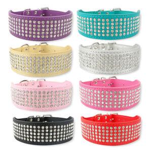 Leather Dog Collar 5 Row 5cm Rhinestones Pet Crystals Diamante Bling Diamonds UK