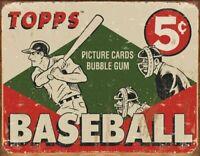 1955 Topps Baseball Box Vintage Collectible Rustic Retro Metal Sign Wall Decor