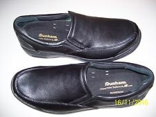 MENS SIZE 15 BLACK SLIP ON SHOES, DUNHAM, NON MARKING, MARKED ROLL BAR, COMFORT