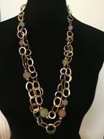 Pastel Beads Pink Blue Green & Gold Plated Link Necklace Multi Strand Nashville