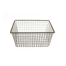 Vintage Metal Wire Bath Storage Basket Rustic Mesh Bin Country Kitchen Organizer