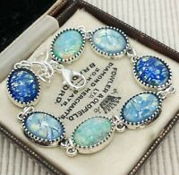 Vintage - Shades of Blue Glass Fire Opal Small Oval Cabochon Bracelet