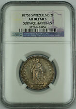 1875 B Switzerland 2 Francs Silver Swiss Coin NGC AU Details Surface Hairlines