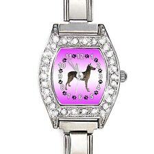 Inca Hairless Dog CZ Womens Stainless Steel Italian Charms Bracelet Watch BJ1111