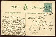 Channel Islands JERSEY - GUERNSEY 1904 PPC Squared Circle + St Andrews postmarks