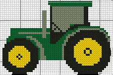 """Tractor 2 Green Complete Counted Cross Stitch Kit 4""""x3"""""""
