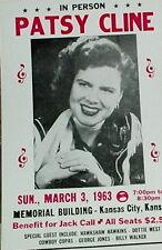 "Patsy Cline Concert Poster - 1963 w/ Hawkshaw Hawkins Dottie West ... - 14""x22"""