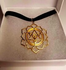 Merkaba Flower of Life CHOKER Black Velvet Gold Plated Sacred Geometry PARAGON