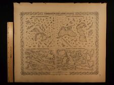 1855 1st COLTON Atlas Map World Lakes & Islands Cuba Caspian Sea England 14x17in