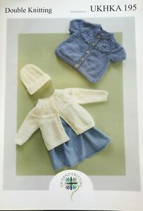 UKHKA 195 Double Knitting Pattern Cardigans & Hat 31 - 56cm 12 - 22 in