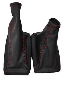 RED STITCH FITS MERCURY COUGAR 1998-2002 BLACK SHIFT BOOT & E BRAKE LEATHER