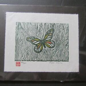 Butterfly Moth Bug insect woodcut woodblock print Japanese Washi signed
