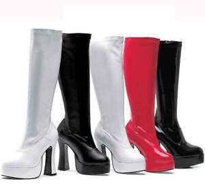 LADIES WOMENS FANCY DRESS PARTY GO GO BOOTS 60s 70s RETRO SIZE 3 4 5 6 7 8