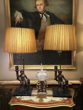 Pair Of Unusual Antique Vintage Bronze & Marble Effect Table Lamps