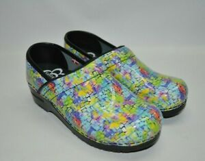 Sanita Geometric Multicolored Patent Leather Professional Clogs 36