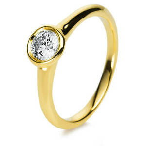 Solitaire Ring Made From 750 Yellow Gold Width: 2,2mm Frame with Diamond 0,5 CT