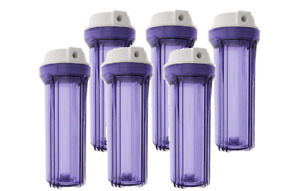 """Pack of 6: 10"""" Standard Flat Top Reverse Osmosis Water Filter Housing Sumps"""