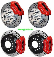 "WILWOOD DISC BRAKE KIT,1965-1969 FORD,Mustang,11"" DRILLED ROTORS,RED CALIPERS"