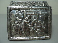 WONDERFUL ANTIQUE DUTCH SILVER EMBOSSED DECORATED, VELVET LINED JEWELRY BOX