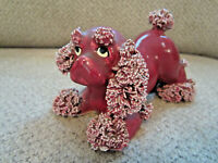 Vintage Japan cocker spaniel spaghetti dog figurine burgundy ceramic collectible