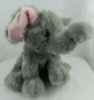 "Aurora World Plush Gray & Pink Sitting Elephant 14"" Soft Stuffed Animal Toy"