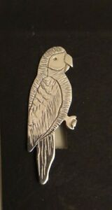 Parrot  Pin, Solid Sterling Silver Hand Crafted in USA