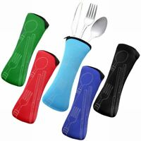 Portable Outdoor Camping Cutlery Set Fork Spoon Travel Kit Zipper Storage Bag