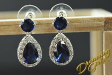 Bridal Classic 18k White Gold Plated Sapphire Austrian Crystal Dangle Earrings