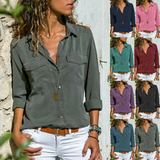Women's Long Sleeve Casual Loose Tops T Shirt Ladies Plain Button Blouse Shirts