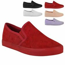 Womens Ladies Flat Pumps Summer Skater Trainers Sneakers Shoes Casual Size New