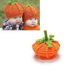 Newborn Baby Crochet Knit Pumpkin Hat Costume Photo Photography Prop