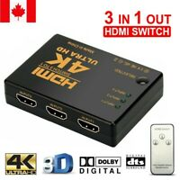 4K HDMI Switch Switcher Selector Splitter 3 Port Hub Box 1080P For HDTV Full HD