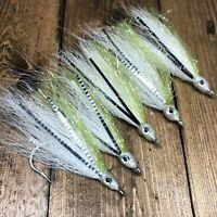 Mustad 5 Bucktail Teaser Flies Fluke Flounder Striper Bass Fishing Bait Rig 5/0