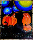 Starring Night Cat Halloween   Original Oil Painting on Canvas   2019   16x20 In