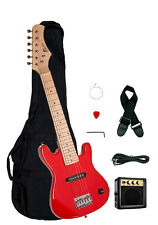 """Raptor 30"""" Kids 1/2 Size RED Electric Guitar Package with Amp, Gig Bag, Strap"""