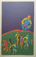 Mid Century Abstract Silkscreen Signed Roach Wall Art Jog Jag Vintage